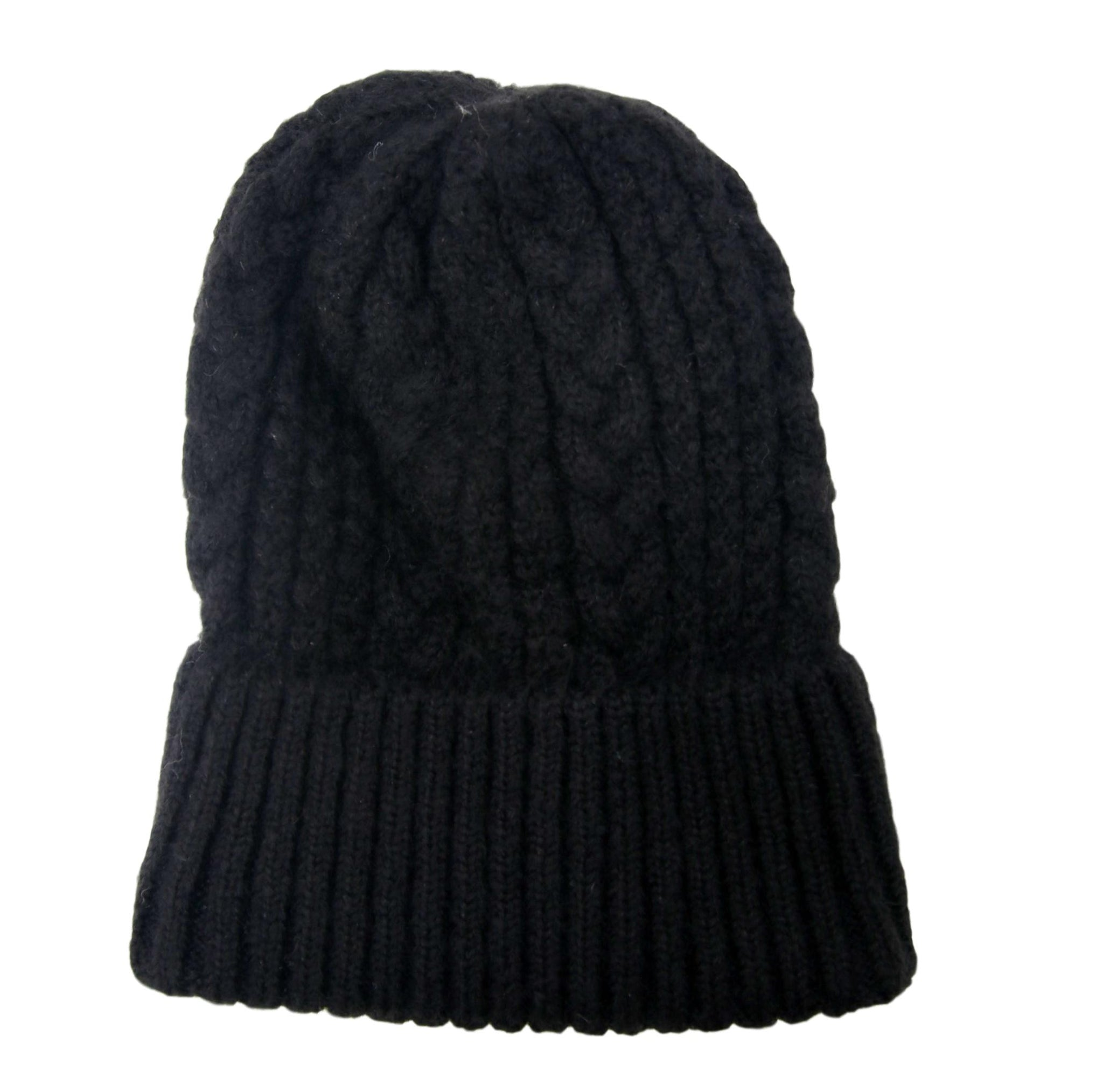 Black Cable Knit Beanie
