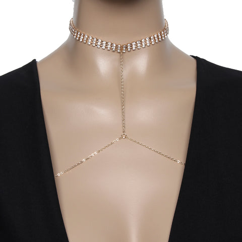 Gold Diamante Choker And Necklace Bodychain