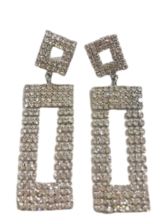 Silver Rectangle Diamante Earrings