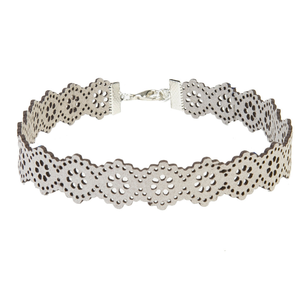 Grey Filigree Laser Cut Out Suede Choker