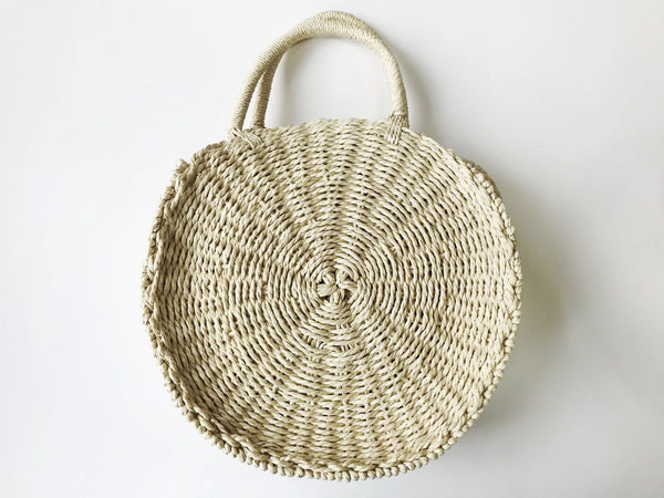 Cream Round Straw Bag with Short and Long Handles