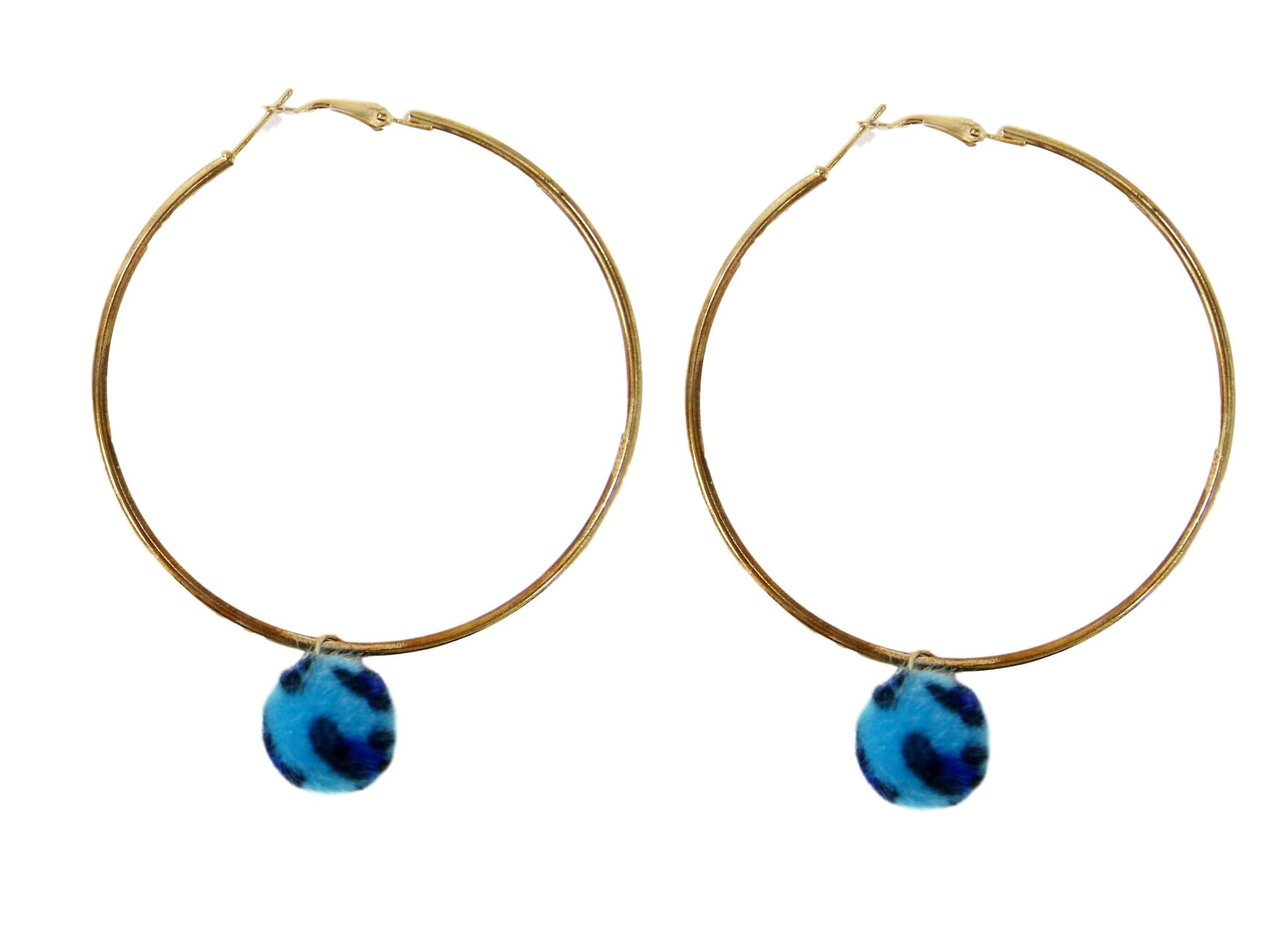 Gold Hoop with Blue Pom Earrings