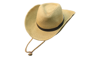 Cream Cow Boy Straw Hat With Rope Strap