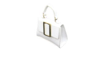 White Croc Rectangle Bucket Mini Bag