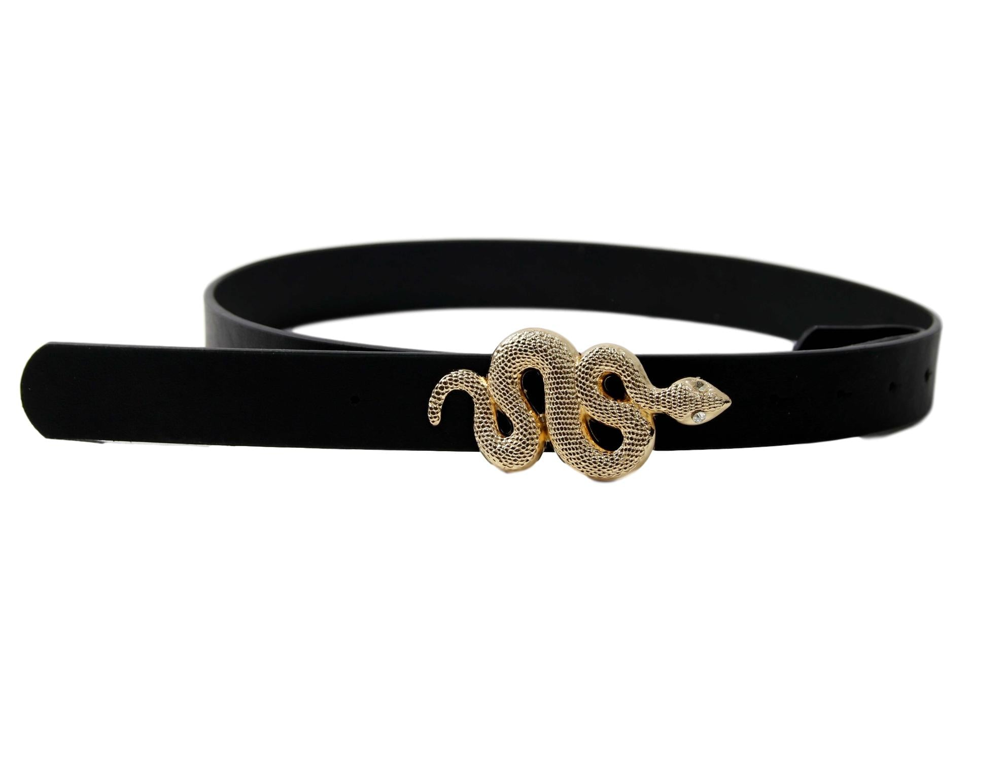 Gold Snake Buckle Black PU Belt