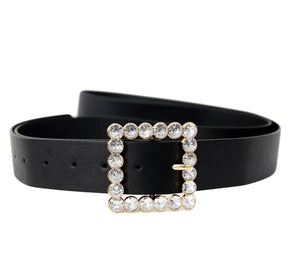 Patent Square Diamante Buckle Belt