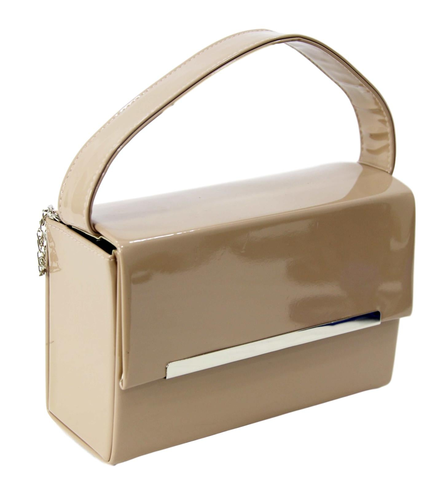 Nude Patent Rectangle Box Bag With ChainBox Bag With Chain