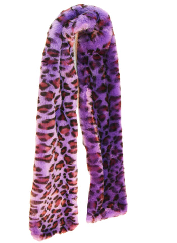 Purple Leopard Print Faux Fur Scarf