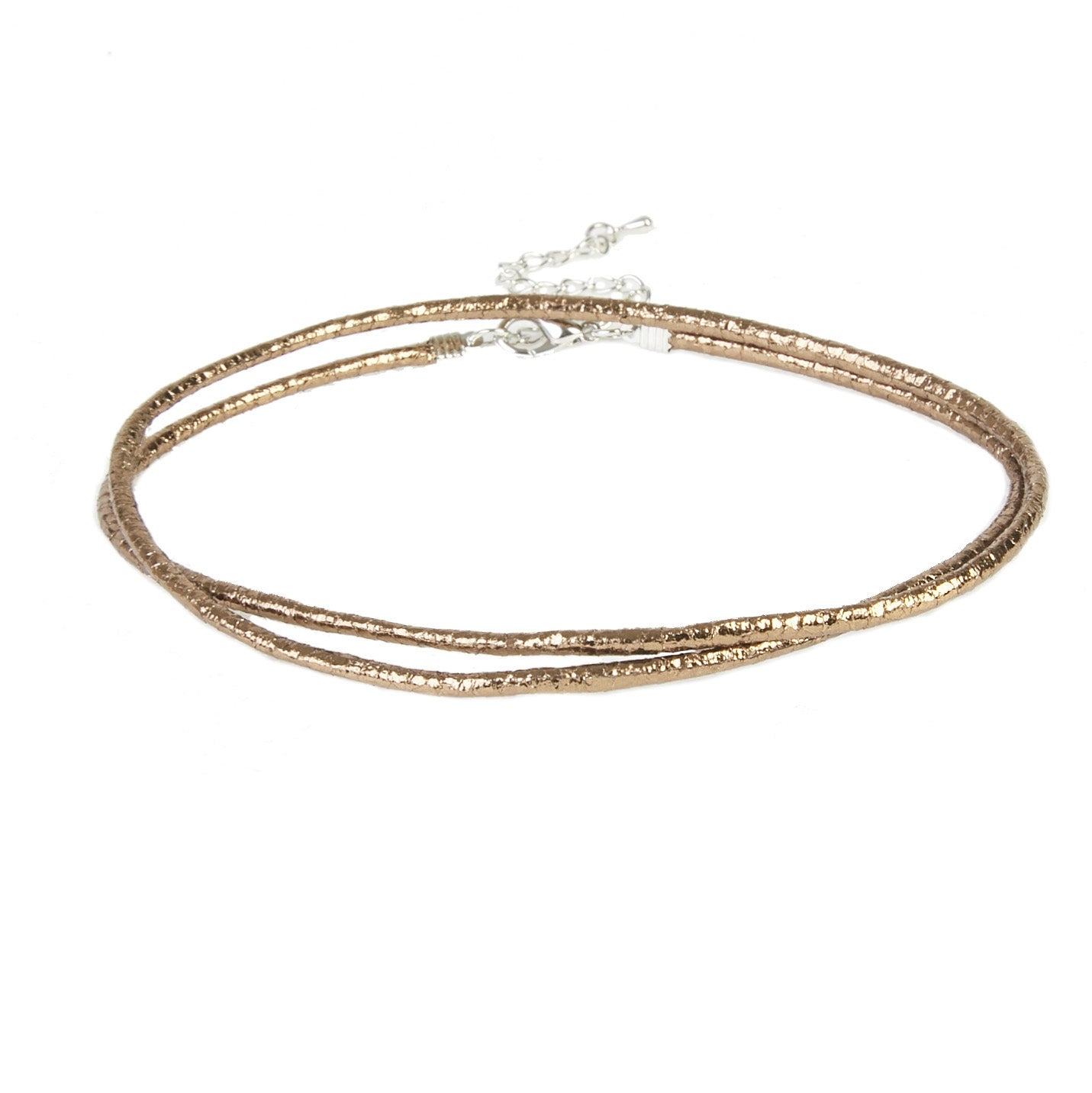 Gold Double Layer Metallic Rope Choker