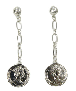 Silver Chain Coin Drop Earrings