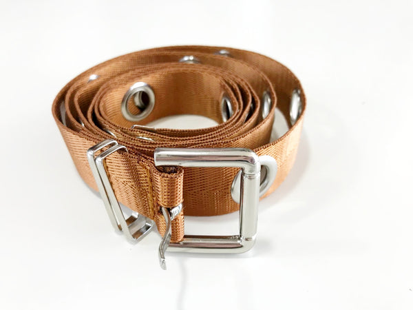 Tan Long Canvas Belt with Eyelets