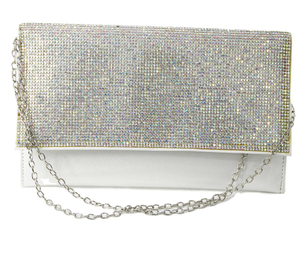 White Diamante Flap Clutch Bag