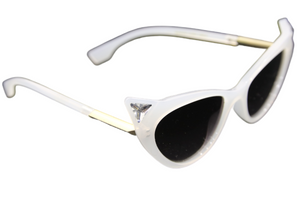 White Cat Eye Sunglasses With Stone Detail