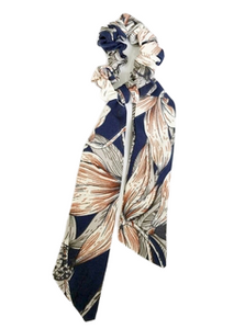 Flowers Navy  Scarf Scrunchies