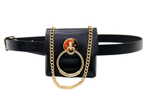 Black Faux Leather (PU) Belt Bag with Chain Strap and Ring Detail