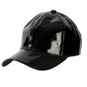 Black Shiny PU Cap