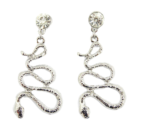 Silver Diamante Snake Earrings SE42