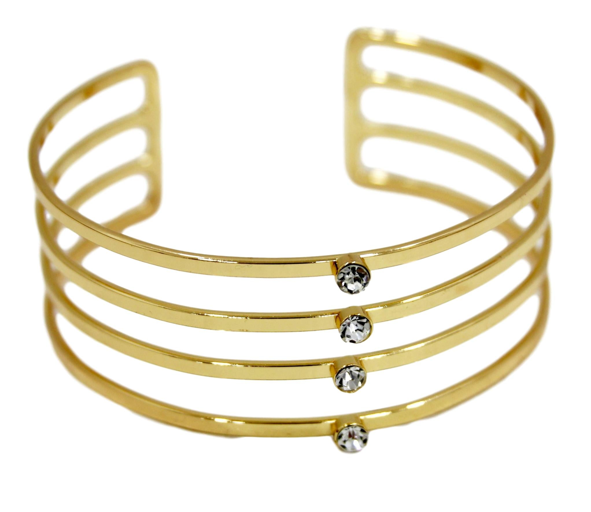 Gold Upper Arm Cuff with Diamante Detail