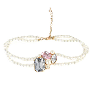 White Double Layered Pearl Choker with Diamante & Pearl Design