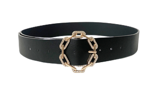 Gold Diamante Chain Link Circle Black Buckle Belt