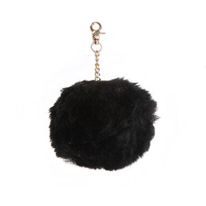 Black Large Faux Fur Pom Key Ring