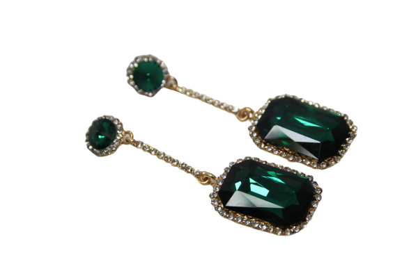 Green Rectangle Gem Drop Diamante Earrings