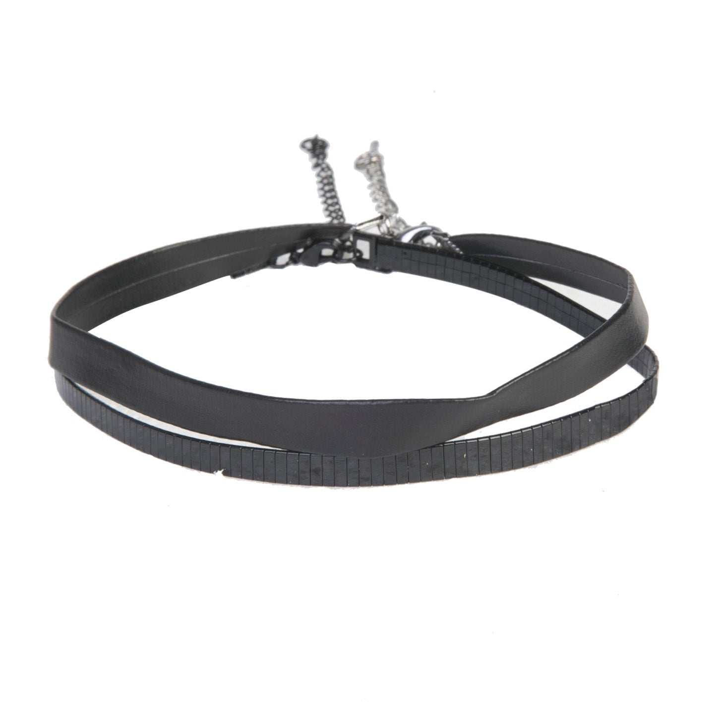 Black Double PU & Metal Cut Line Choker