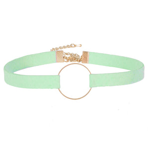 Mint Suedette choker with metal circle detail