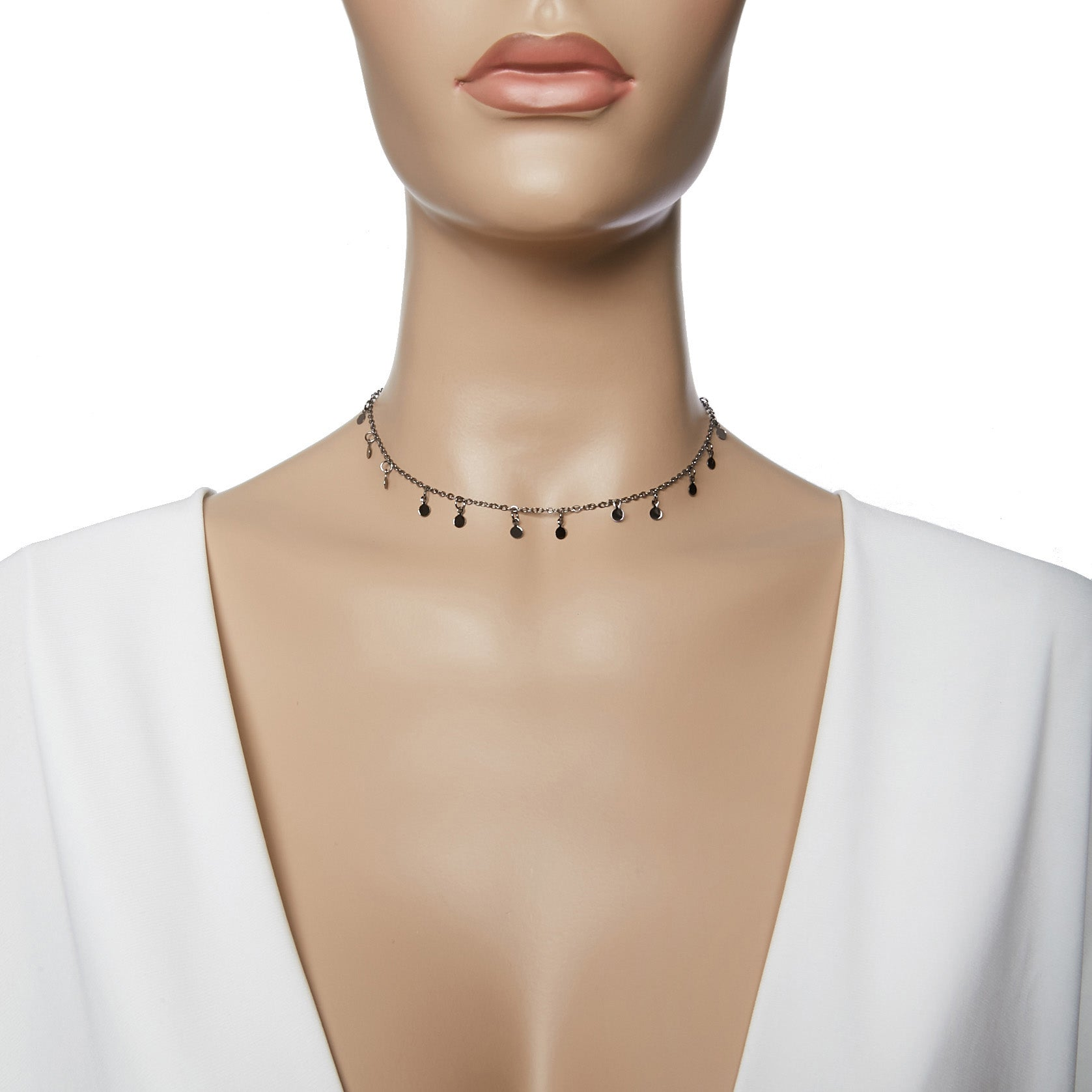 Pewter Delicate Circle Chain Choker