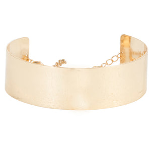 Gold 3.5cm Structured Metal Curved Choker