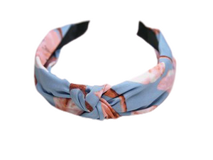 Light Blue Floral Print Knotted Headband