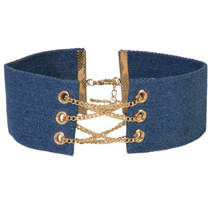Denim Choker w/ Front Chain