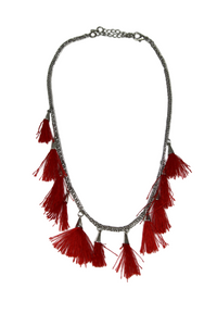Red Multi tassel necklace