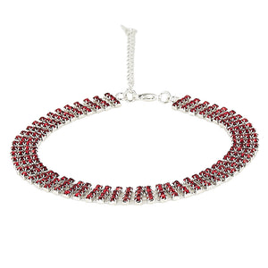 Red Stone Diamante Embellished Choker