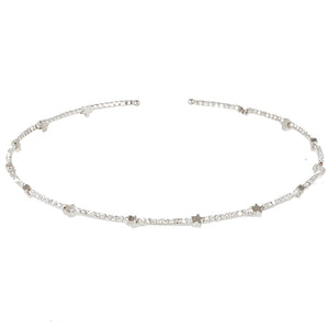 Silver Diamante and Star Choker