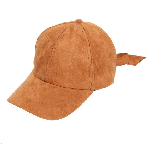Tan Suede Hat with Bow