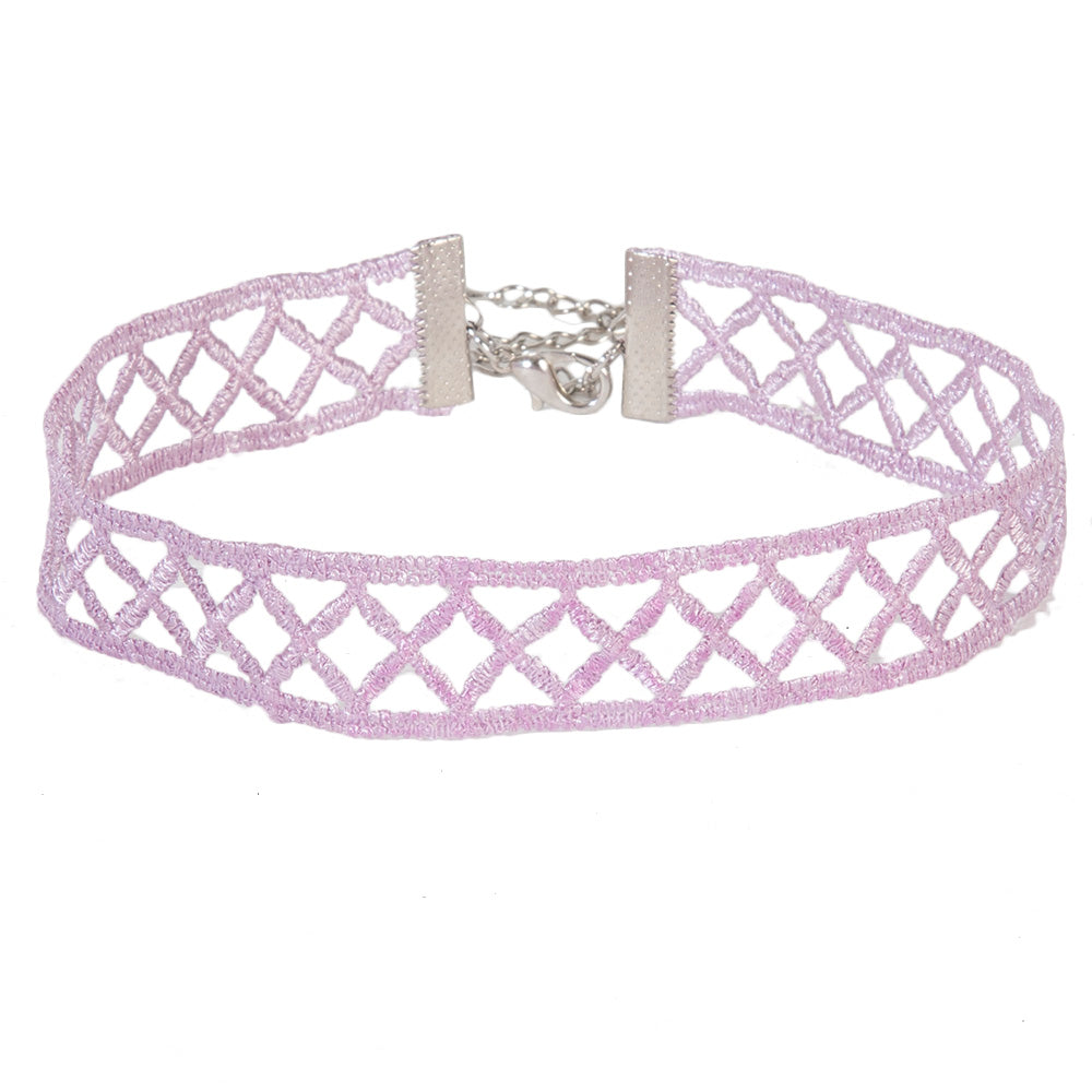 Lilac Criss Cross Lattice Choker