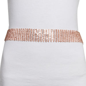 Rose Gold Wide Diamante Belt