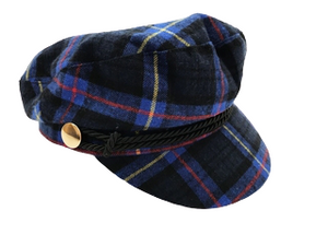 Blue Tartan Bakerboy With Rope Trim