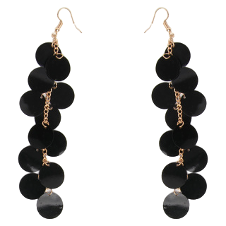 Black Sequin Dangle Earring