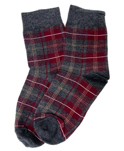 Wine Tartan Print Fashion Socks