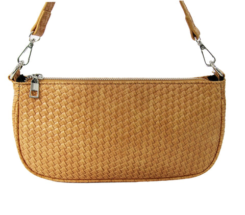 Tan Woven PU Shoulder Bag