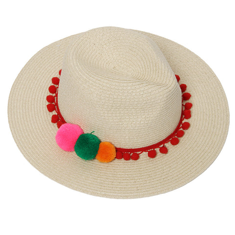 Straw Fedora With Pom Band