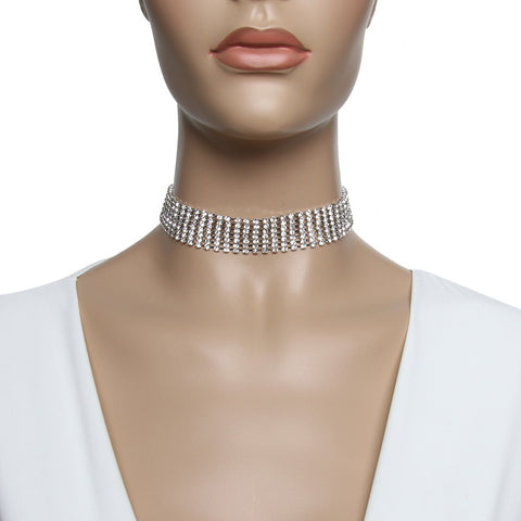 7 Row Diamante Studded Choker