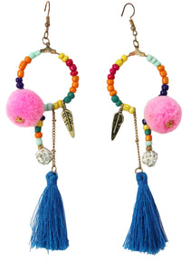 Pom Tassel Beaded Earring