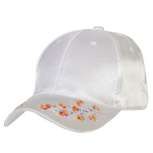 Silk Embroidered Floral Cap