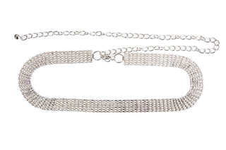 Silver 5 Layer Diamante Belt