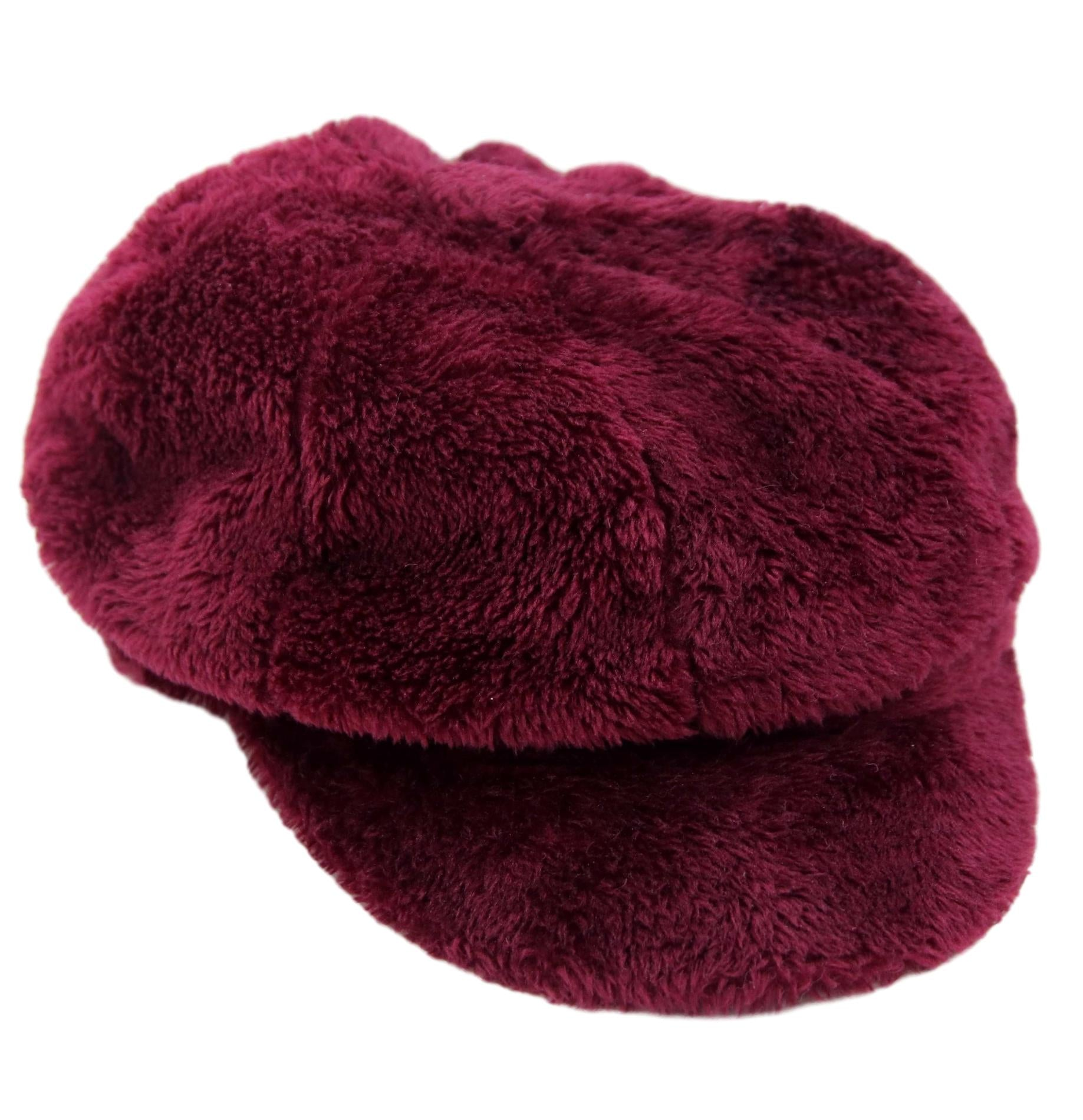 Wine Faux Fur Baker Boy Hat
