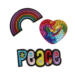 Iron on Patch 3-pack rainbow heart peace