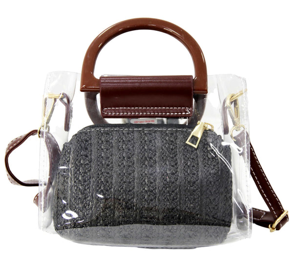 Black Straw and Clear Bag with Brown Handle